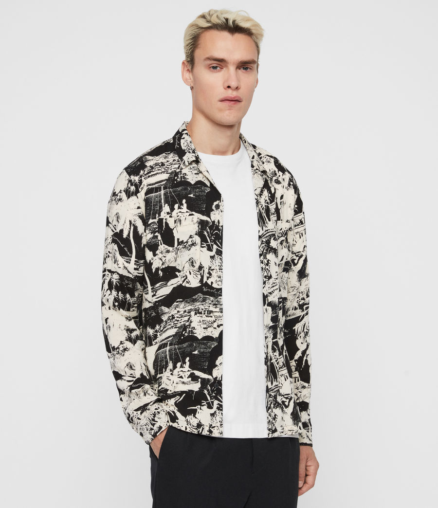 Men's Awa Long Sleeve Shirt (jet_black_ecru) - Image 4
