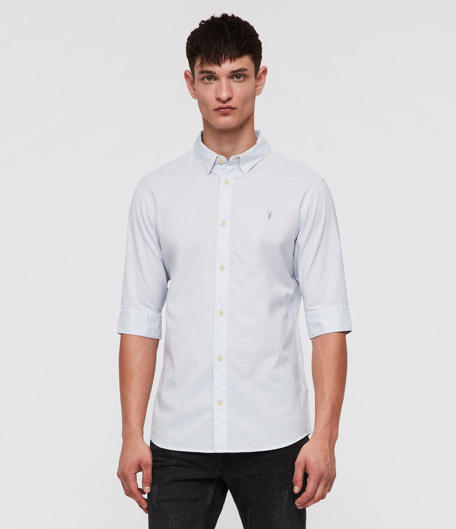 fed9fed8d32 ALLSAINTS CA  Mens Fuller Half-Sleeve Shirt (cloud blue)