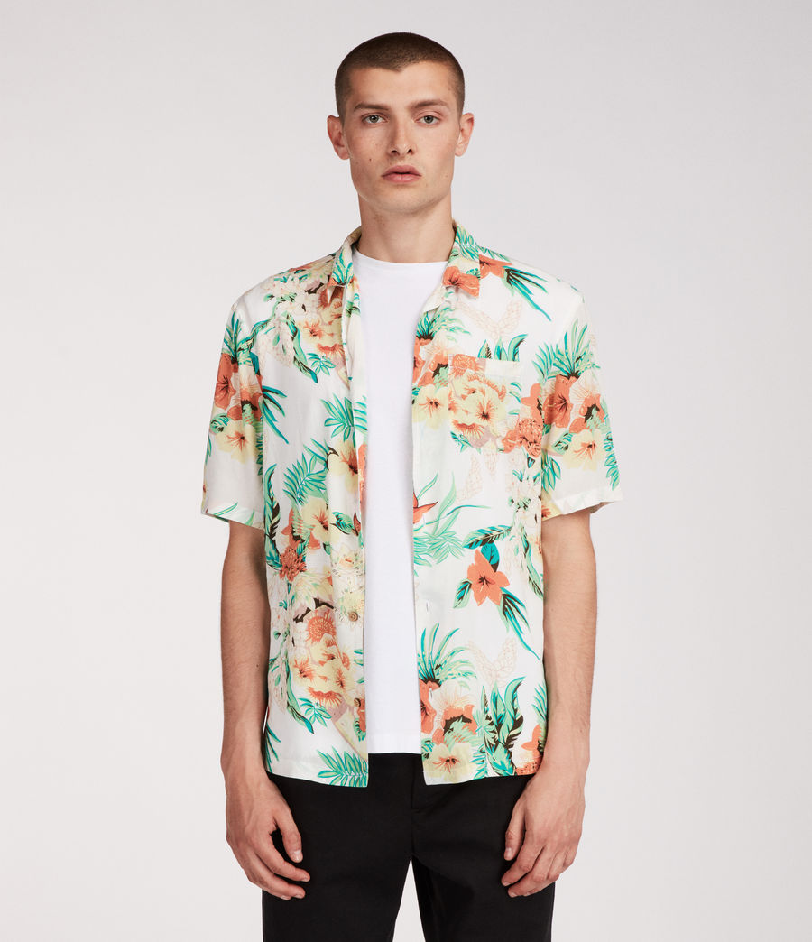 Mens Calypso Hawaiian Shirt (ecru) - Image 1