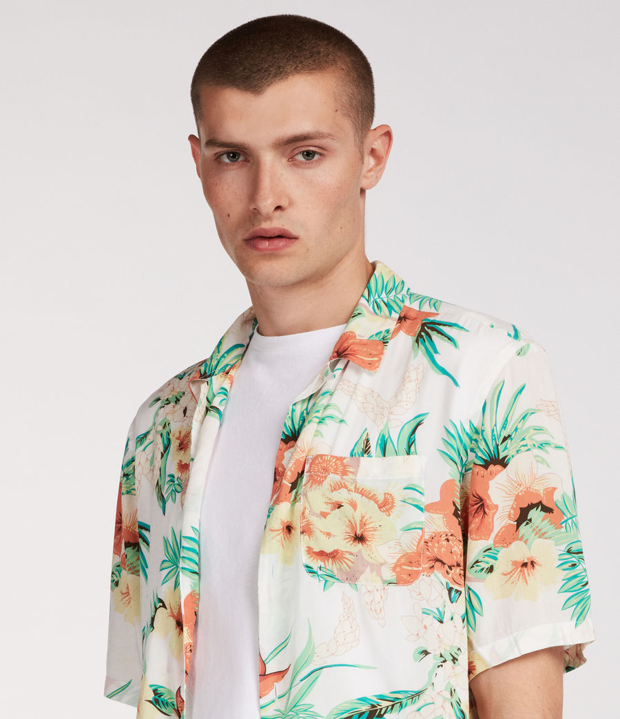 Mens Calypso Hawaiian Shirt (ecru) - Image 2