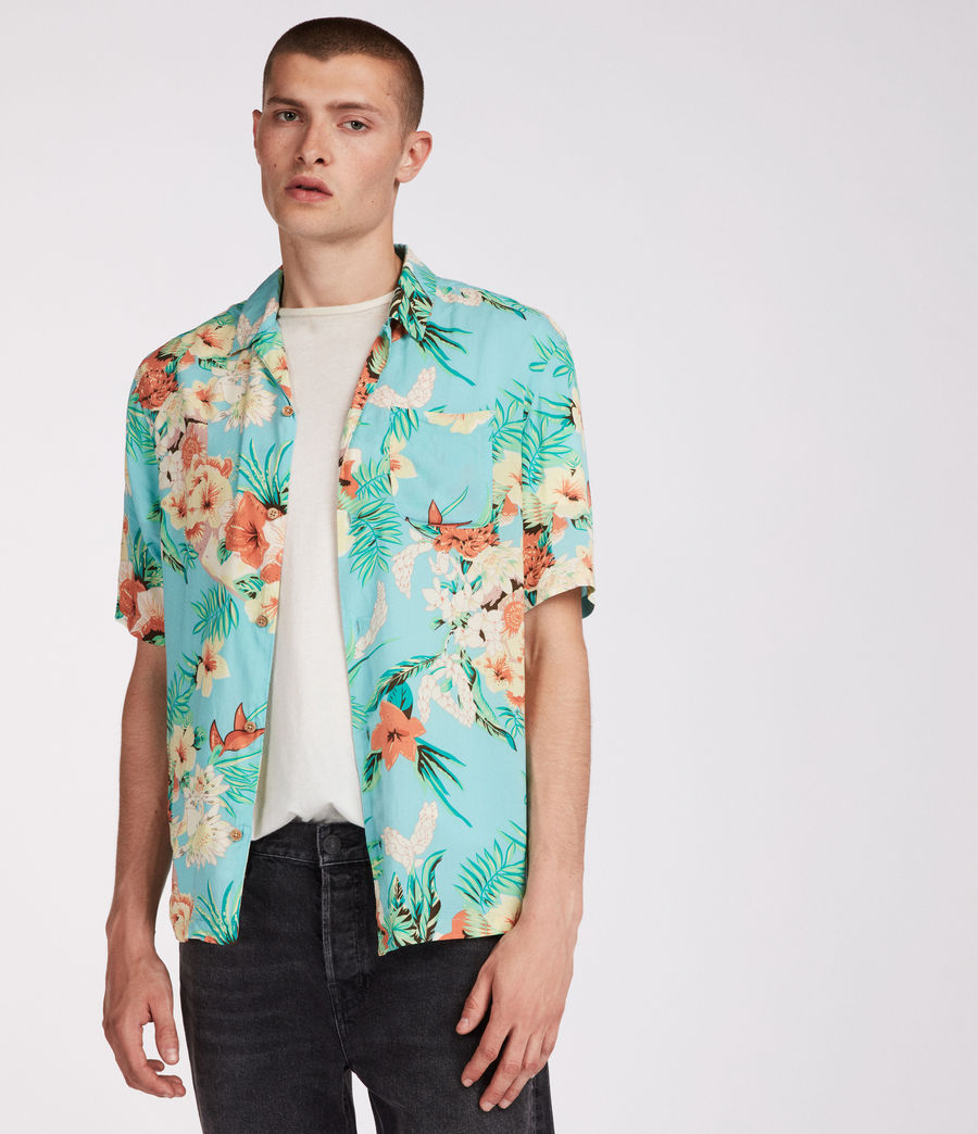Mens Calypso Hawaiian Shirt (blue) - Image 1