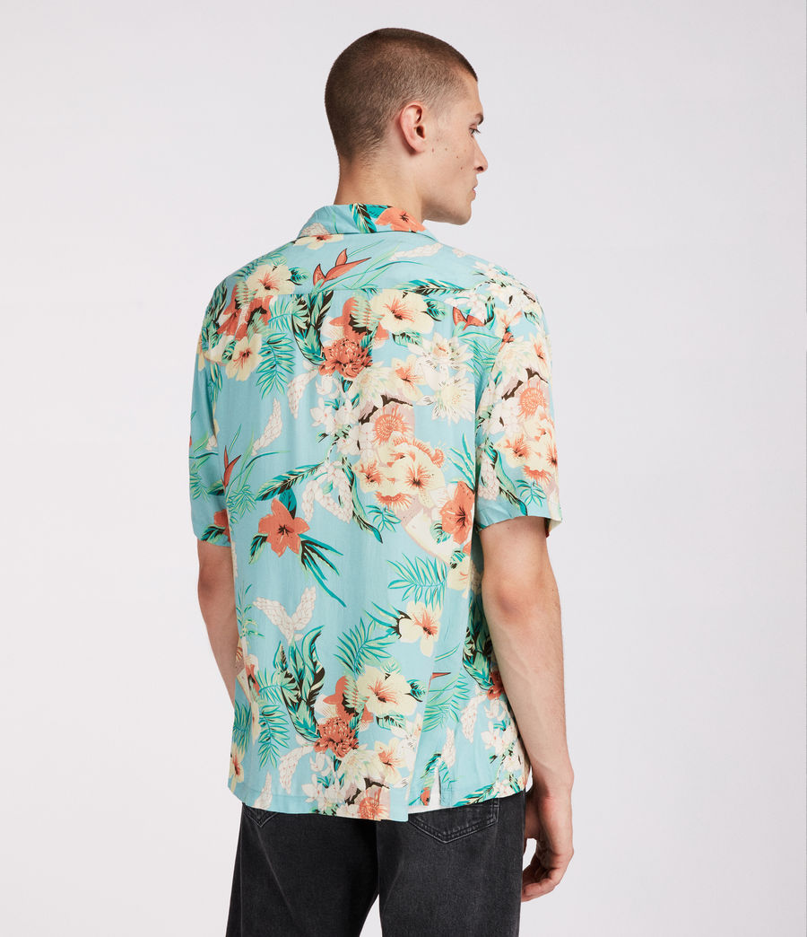 Mens Calypso Hawaiian Shirt (blue) - Image 2