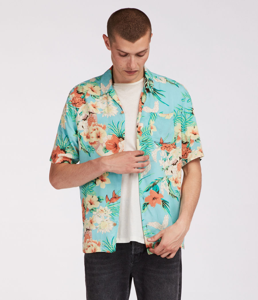 Mens Calypso Hawaiian Shirt (blue) - Image 3