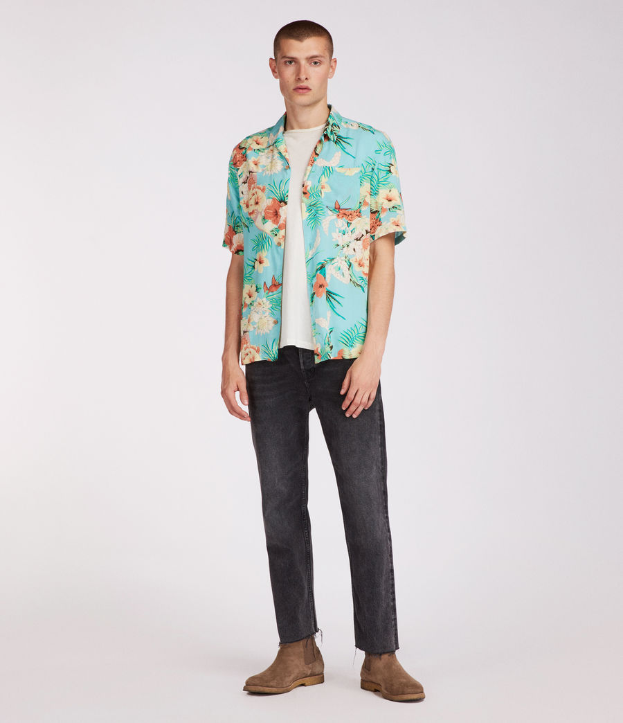 Mens Calypso Hawaiian Shirt (blue) - Image 4