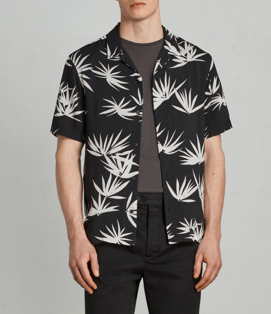 Men's Bhutan Hawaiian Shirt (black) - Image 1
