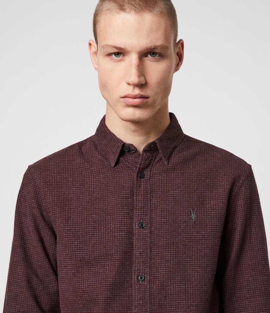 Hombres Camisa de Manga Larga Elba (burgundy_grey) - Image 1