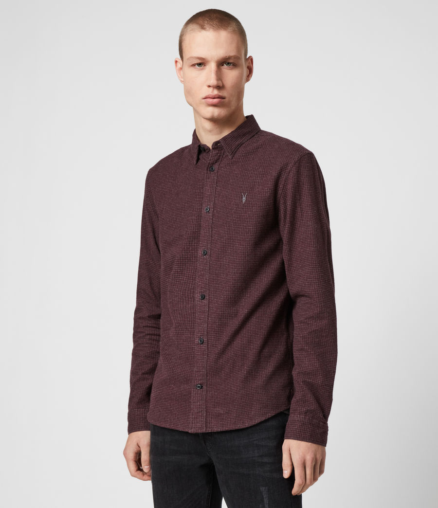 Hombres Camisa de Manga Larga Elba (burgundy_grey) - Image 4