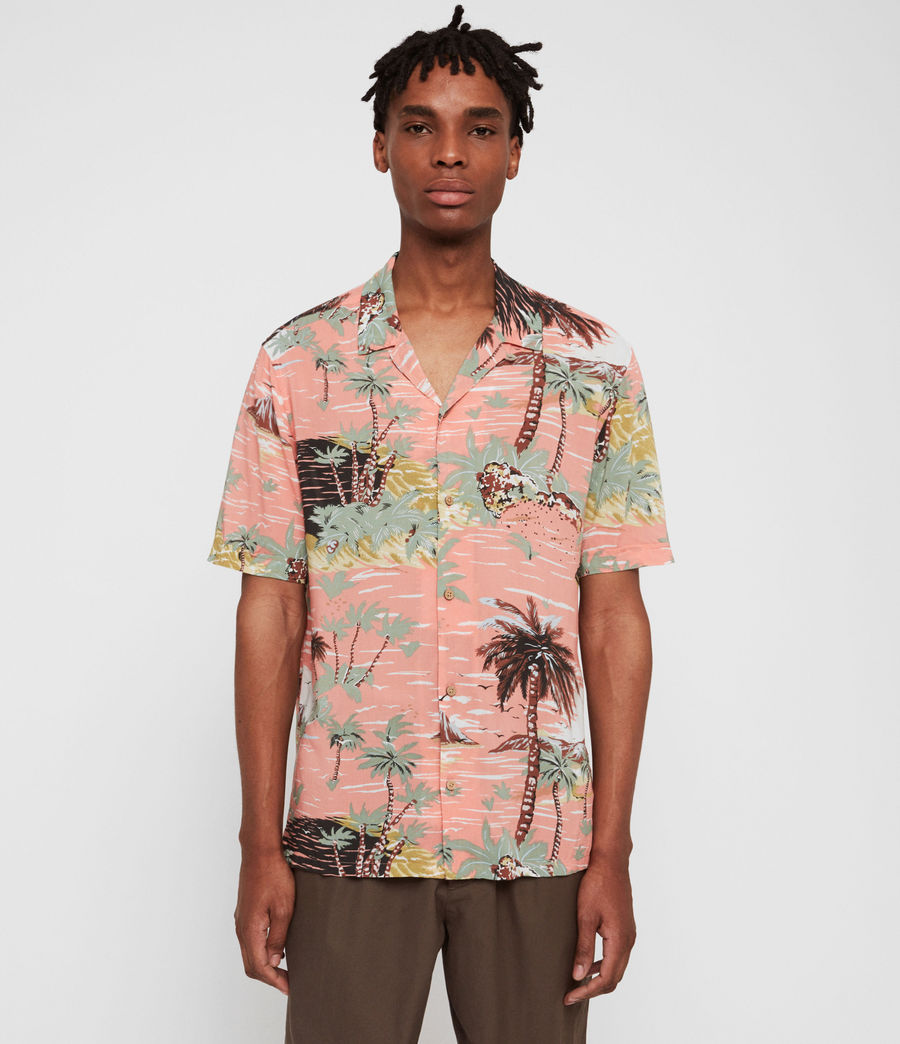 Men's Luau Hawaiian Shirt (pink) - Image 3