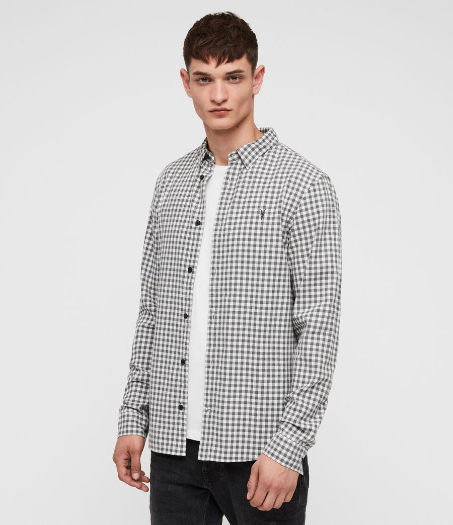 Hombres Camisa Stowe (ecru__charcoalgrey) - Image 3