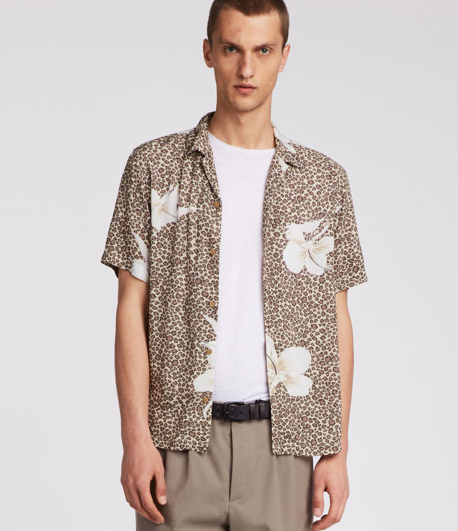 Mens Kuhi Hawaiian Shirt (sand) - Image 1