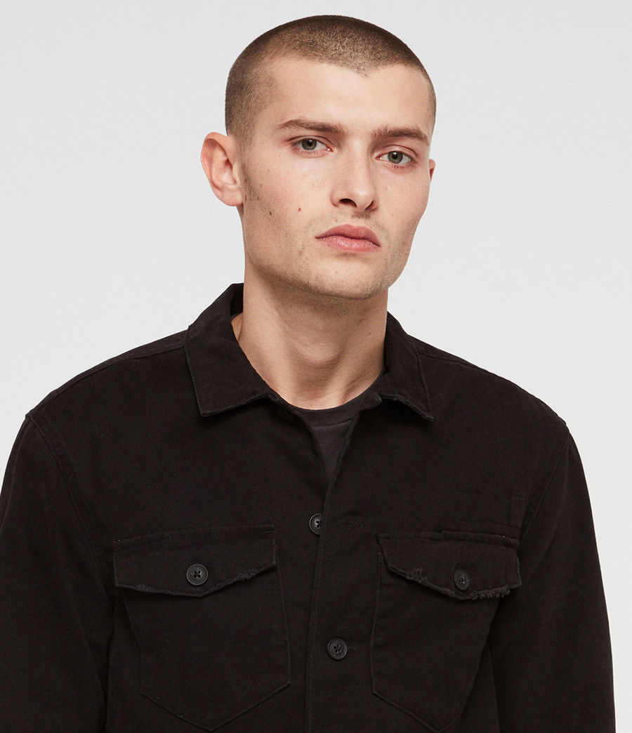Mens Encamp Long Sleeve Shirt (Washed Black) - Image 2