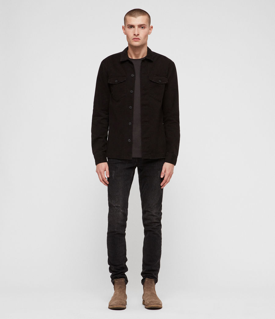 Mens Encamp Long Sleeve Shirt (Washed Black) - Image 3