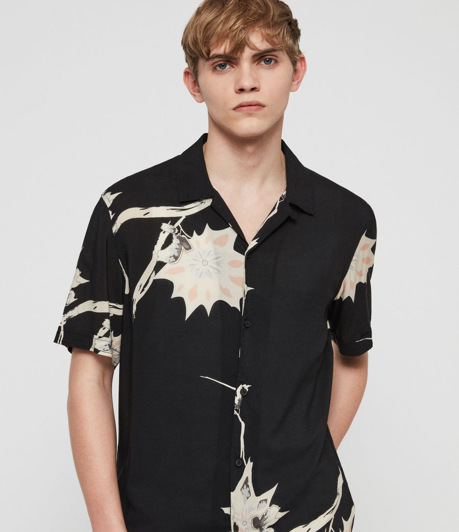 Men's Mokapu Hawaiian Shirt (jet_black) - Image 1