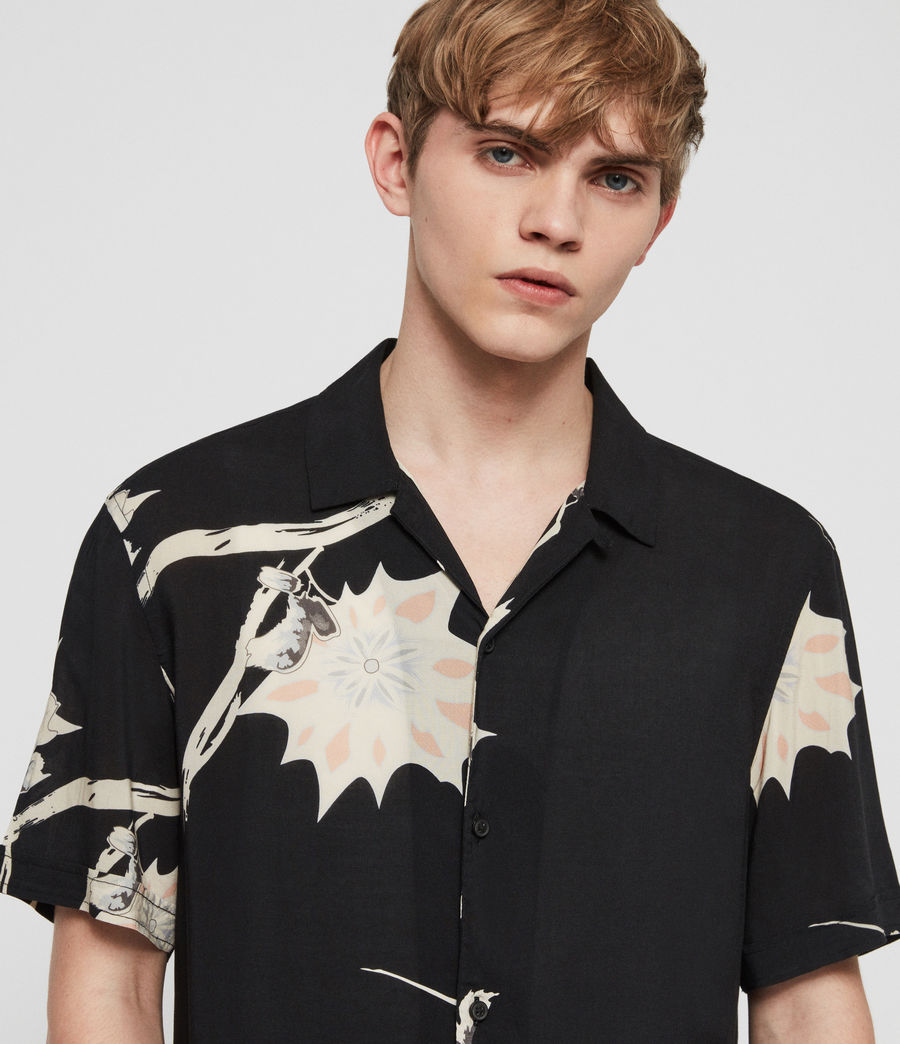 Men's Mokapu Hawaiian Shirt (jet_black) - Image 3