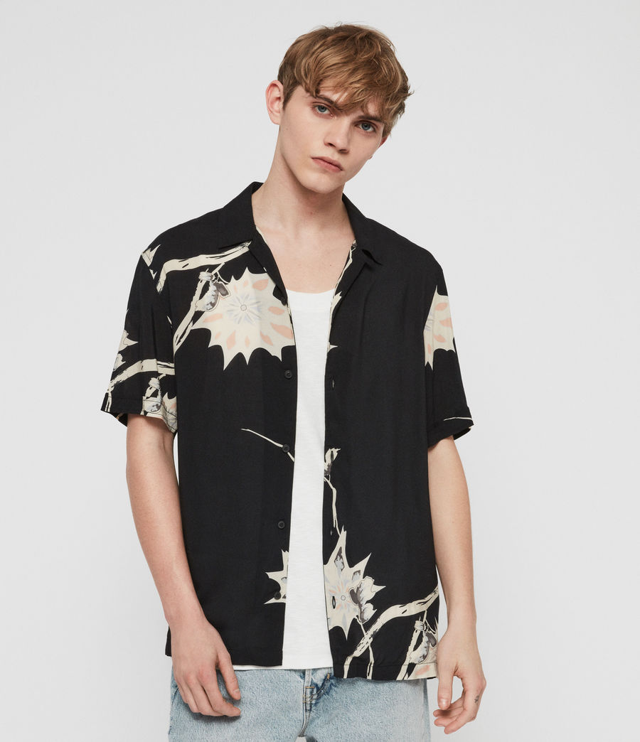 Men's Mokapu Hawaiian Shirt (jet_black) - Image 4