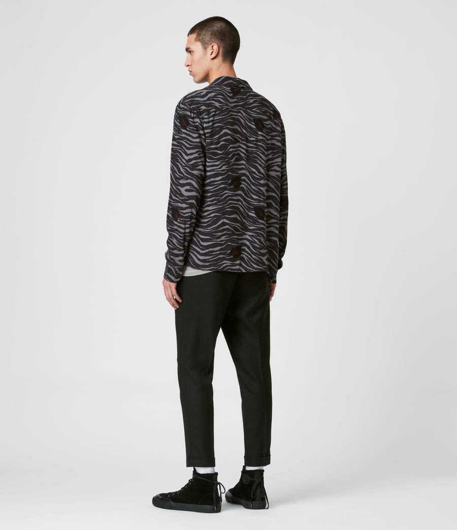 Mens Lazaro Long Sleeve Shirt (grey_jet_black) - Image 5