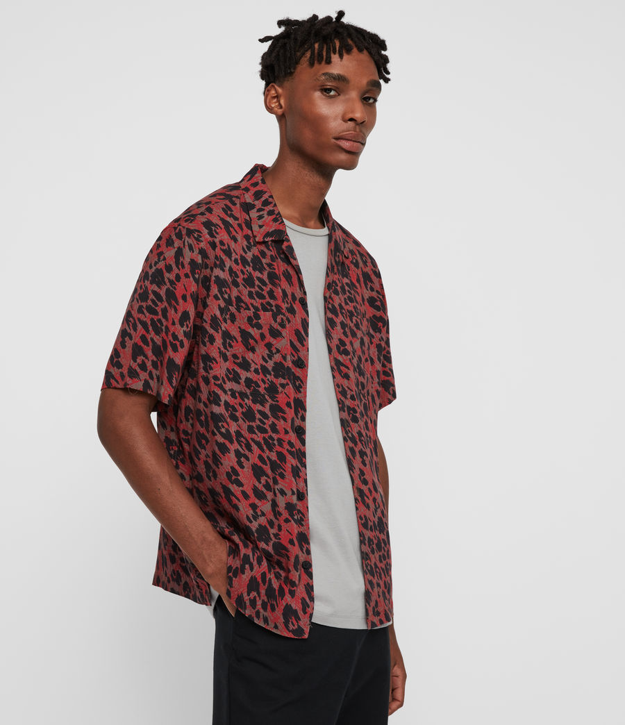 Hombres Camisa de Manga Corta Monteray (brown_red_black) - Image 4