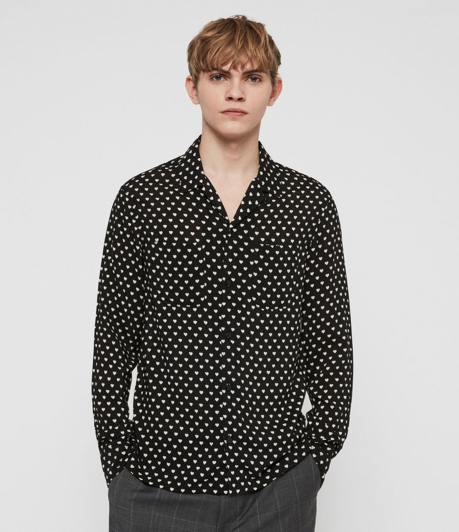 Men's Valentine Shirt (jet_black_ecru) - Image 1