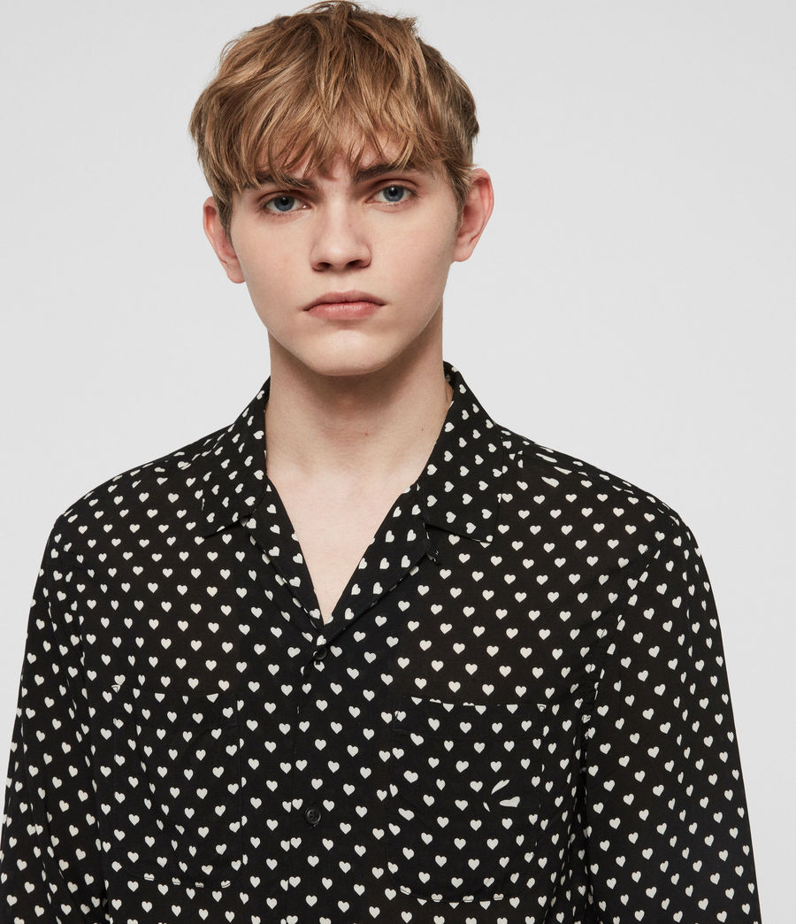 Men's Valentine Shirt (jet_black_ecru) - Image 3