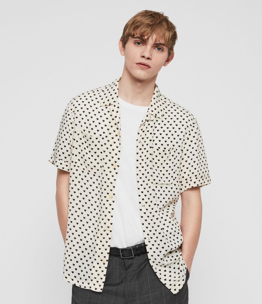 Uomo Camicia Valentine Maniche Corte (ecru_white_black) - Image 1