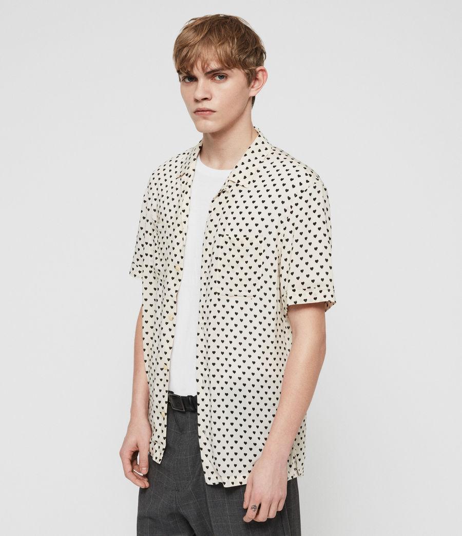 Uomo Camicia Valentine Maniche Corte (ecru_white_black) - Image 3