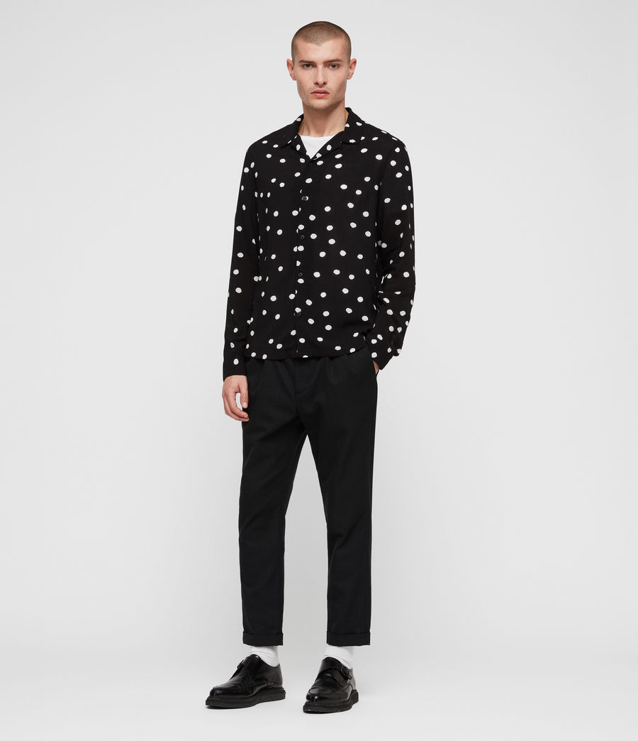 Men's Pozere Shirt (jet_black_ecru) - Image 4