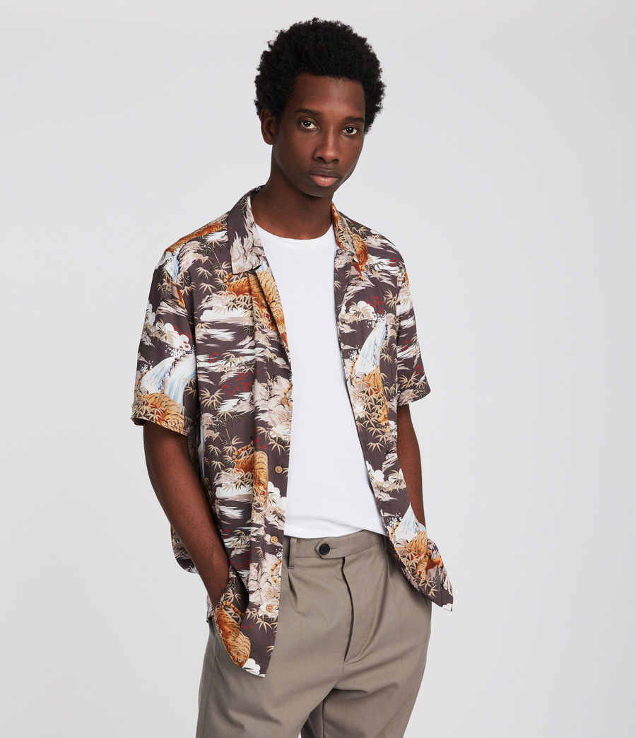 Men's Sumatra Hawaiian Shirt (coal_grey) - Image 1