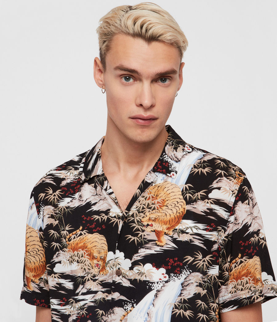 Mens Sumatra Hawaiian Shirt (black) - Image 2