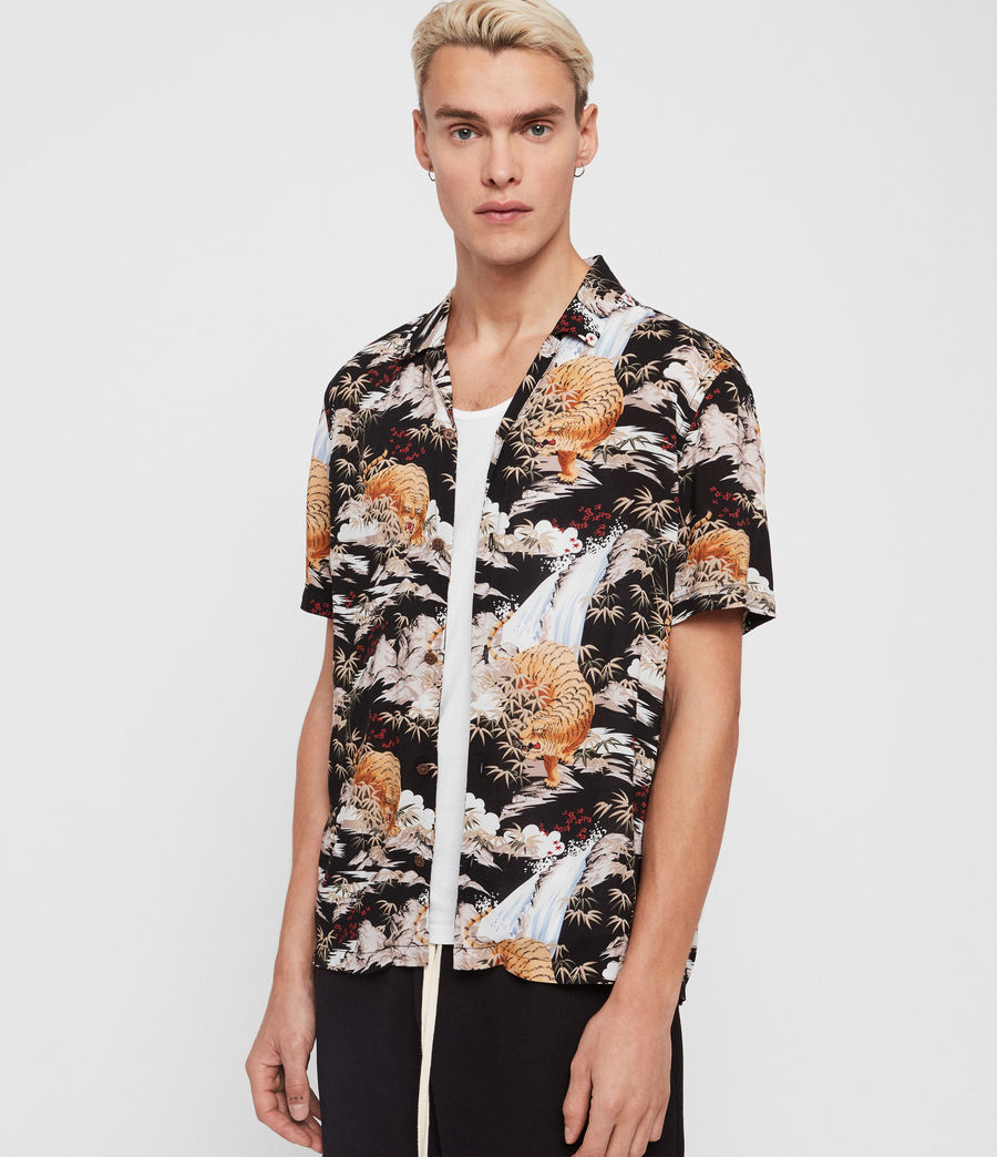 Mens Sumatra Hawaiian Shirt (black) - Image 3