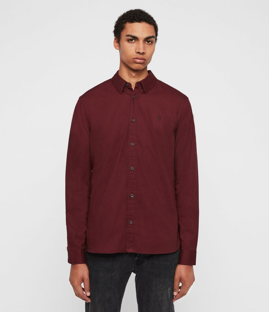 Mens Redondo Long Sleeve Shirt (maroon_red) - Image 1