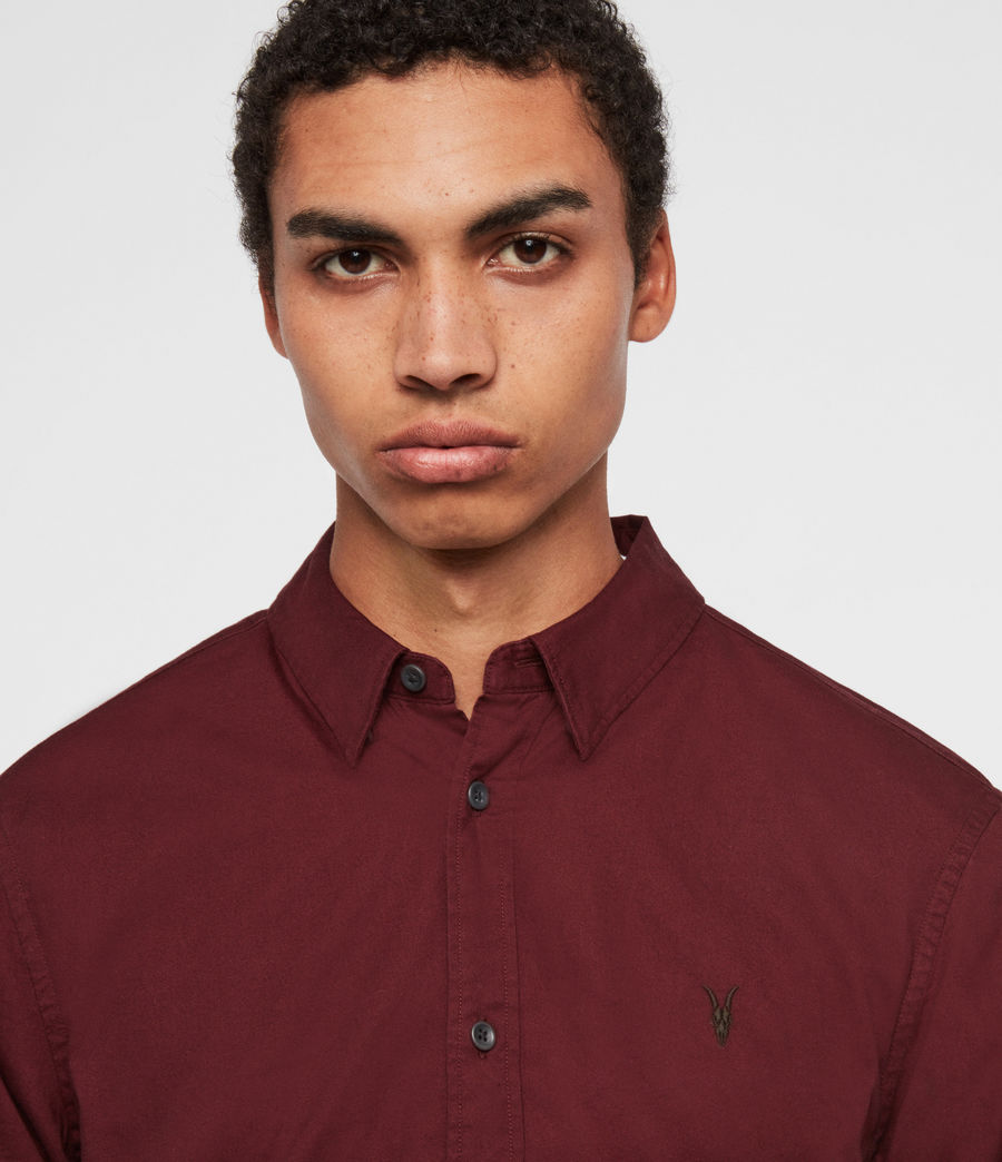 Mens Redondo Long Sleeve Shirt (maroon_red) - Image 2