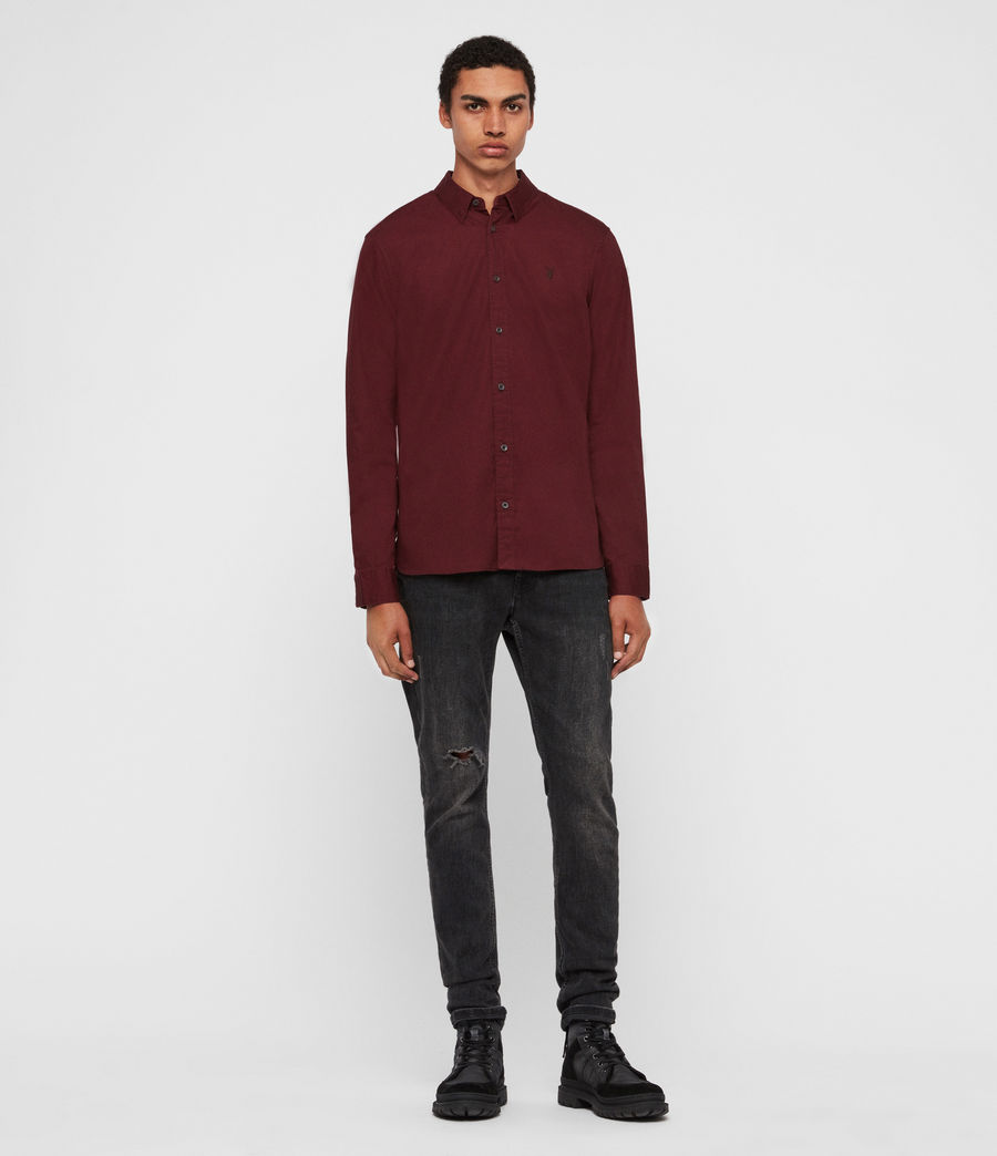 Mens Redondo Long Sleeve Shirt (maroon_red) - Image 3