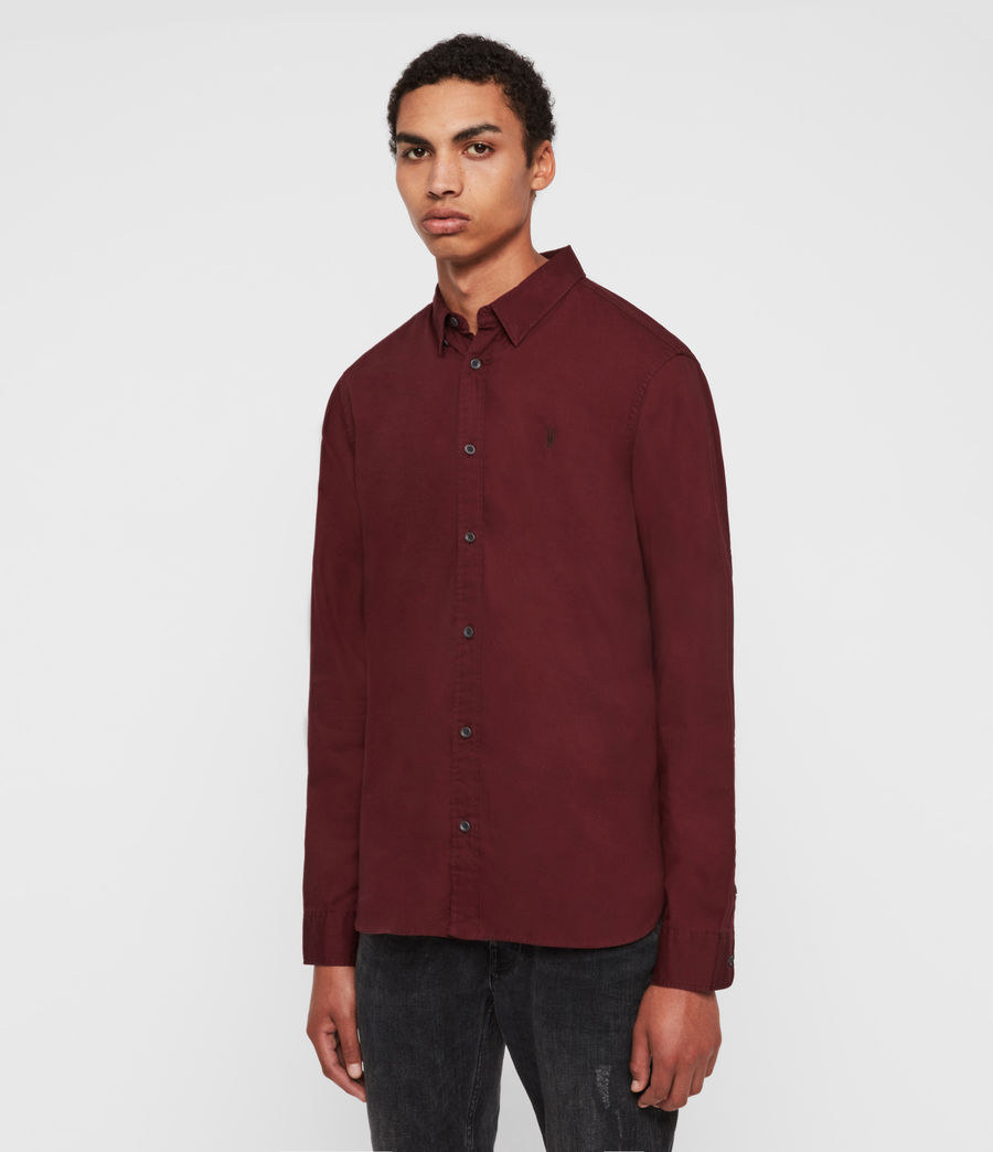 Mens Redondo Long Sleeve Shirt (maroon_red) - Image 4