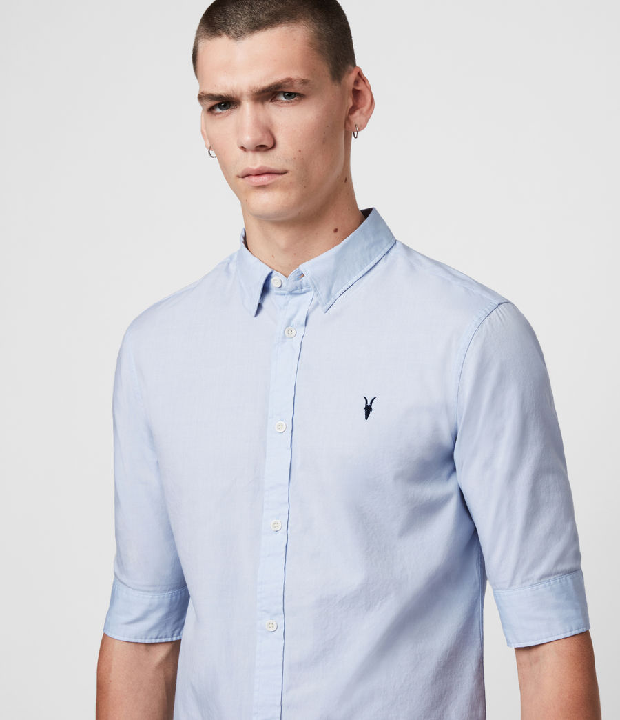 c3b0887fdd0 ALLSAINTS UK  Mens Redondo Half-sleeved Shirt (light blue)