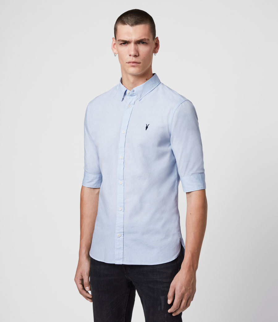 Mens Redondo Half Sleeve Shirt (Light Blue) - Image 4