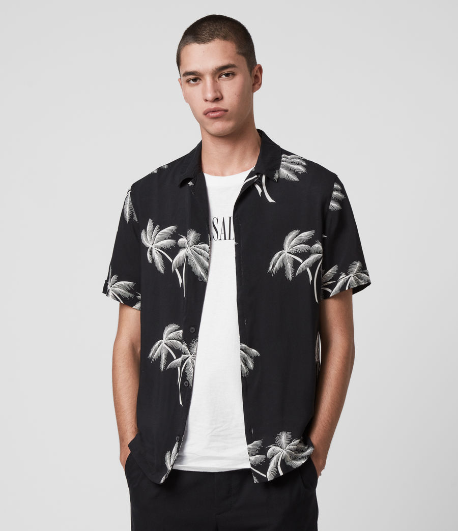 369a4984 ALLSAINTS UK: Mens Offshore Hawaiian Shirt (black)