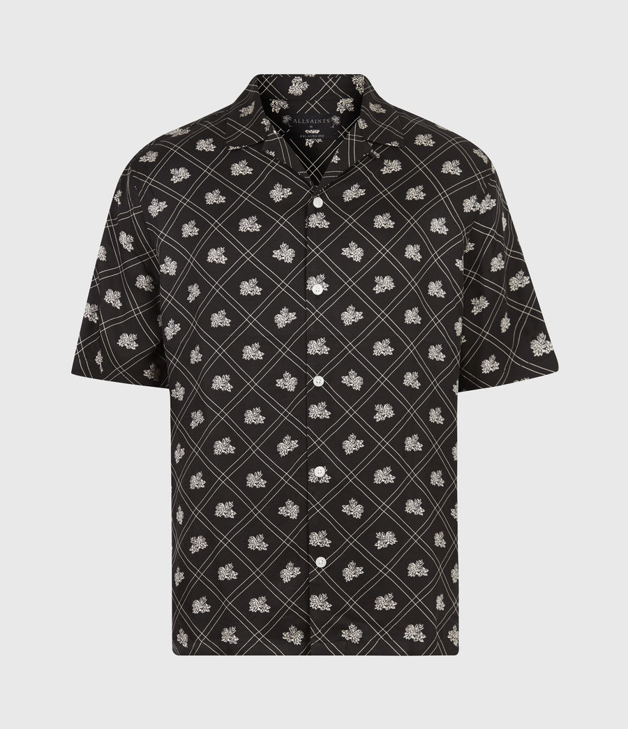 Mens Rose Check Shirt (jet_black) - Image 2