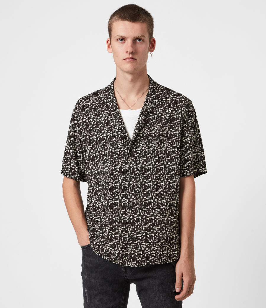 Men's Vinyl Shirt (jet_black_ecru) - Image 1