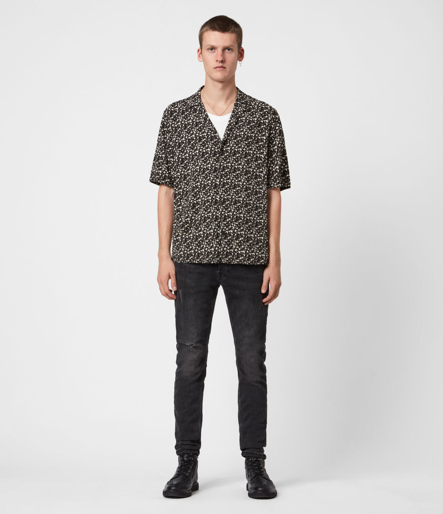 Men's Vinyl Shirt (jet_black_ecru) - Image 4