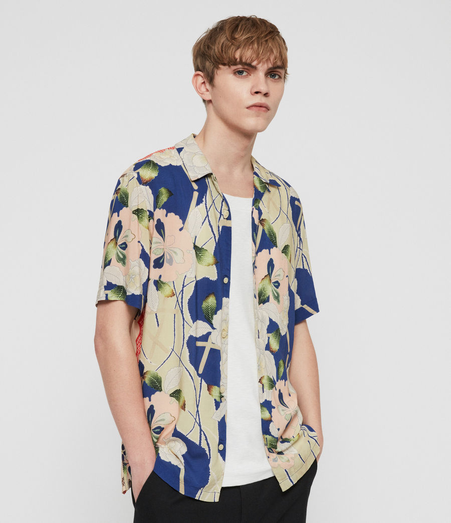 Men's Fuyugi Hawaiian Shirt (ink_navy) - Image 1