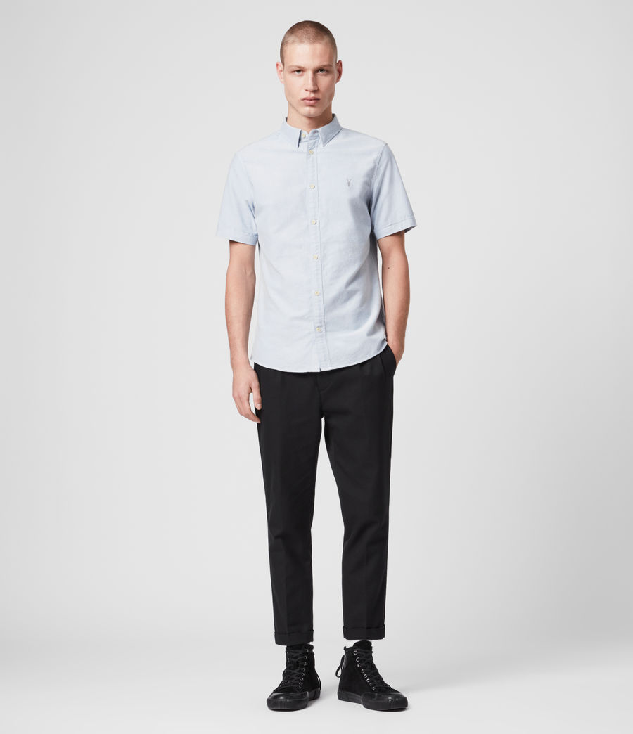 Mens Hungtingdon Short Sleeve Shirt (Light Blue) - Image 3
