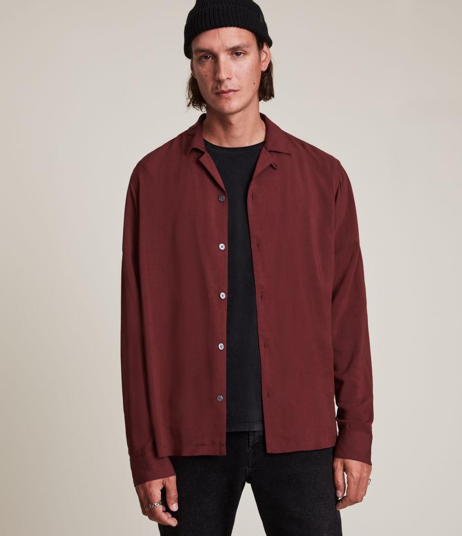 Men's Venice Long Sleeve Shirt (damson_red) - Image 1