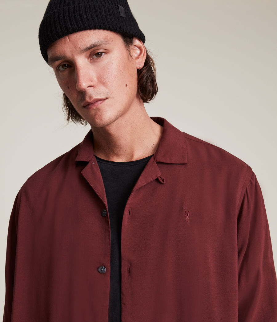 Men's Venice Long Sleeve Shirt (damson_red) - Image 2