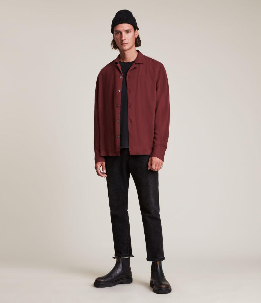 Men's Venice Long Sleeve Shirt (damson_red) - Image 3
