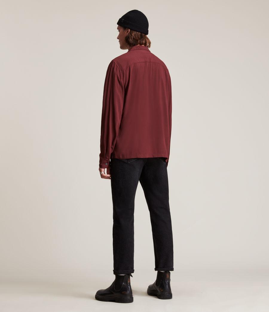 Men's Venice Long Sleeve Shirt (damson_red) - Image 4