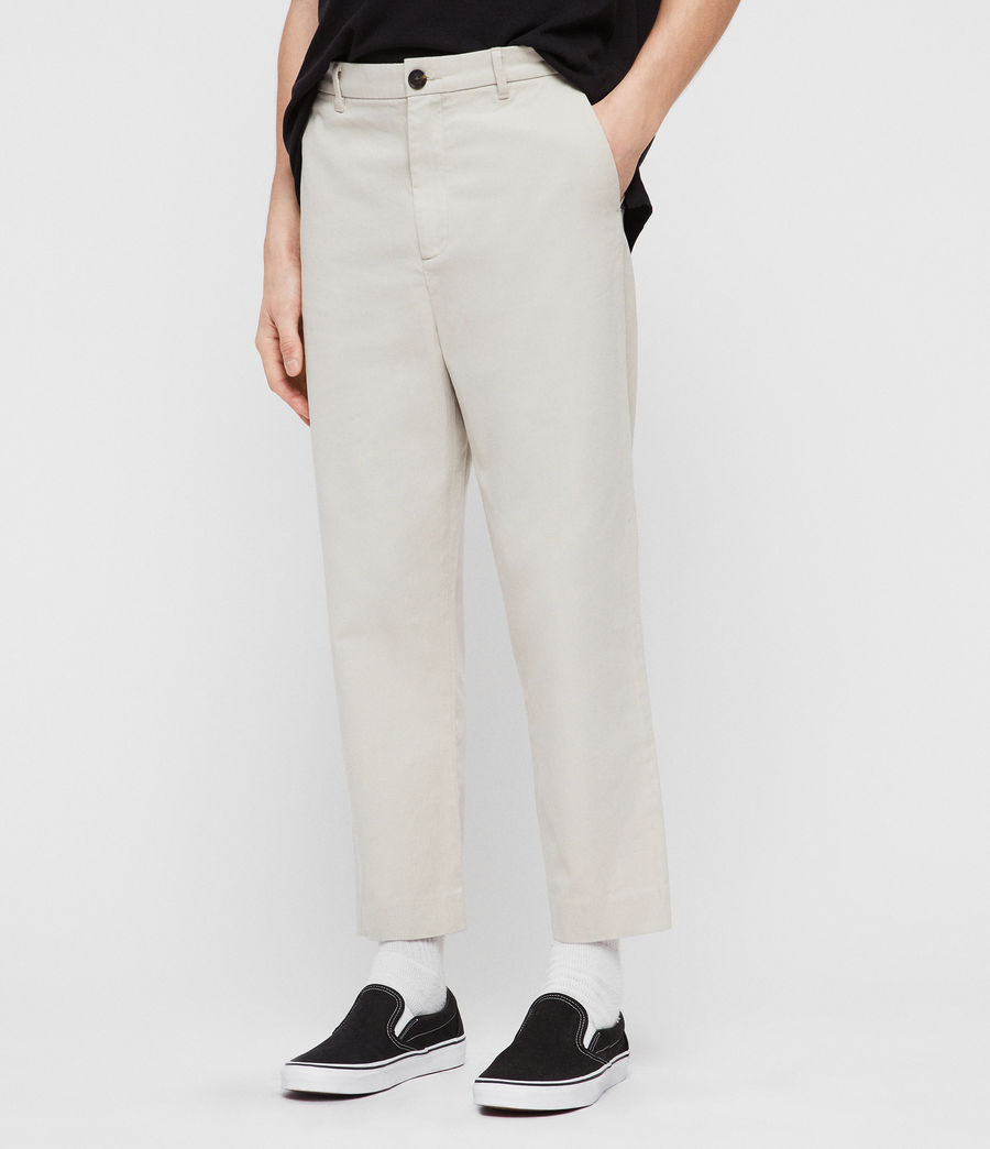Mens Muro Cropped Tapered Chinos (sand) - Image 1