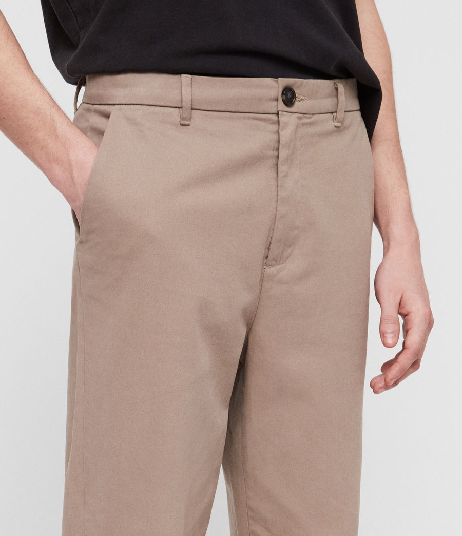 Mens Muro Cropped Tapered Chinos (sand) - Image 2
