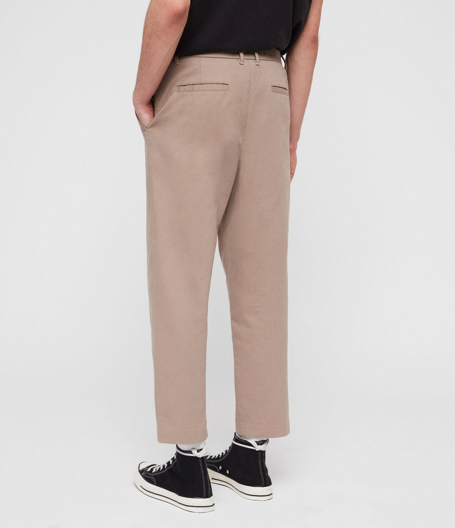 Mens Muro Cropped Tapered Chinos (sand) - Image 7
