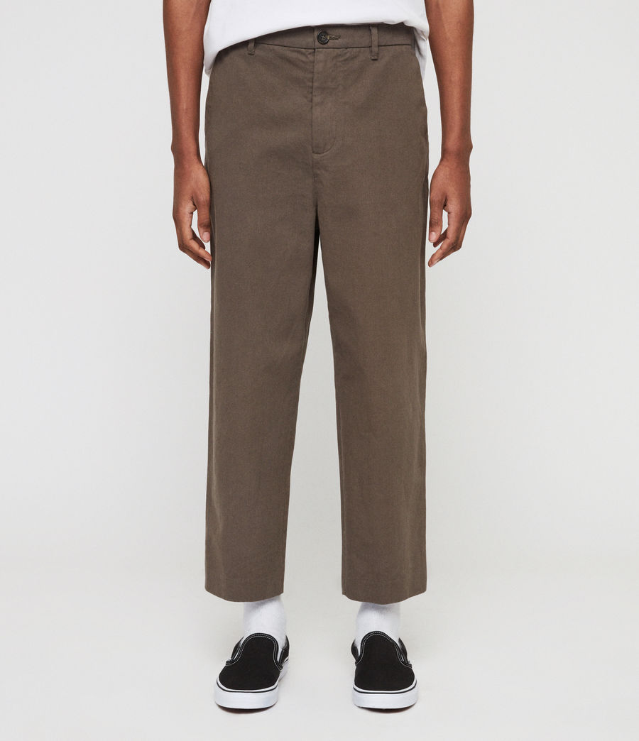 Mens Muro Cropped Tapered Chinos (dusty_khaki_green) - Image 1
