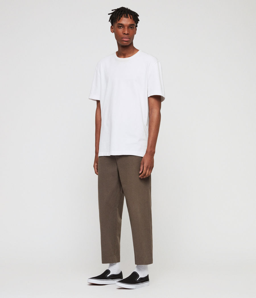 Mens Muro Cropped Tapered Chinos (dusty_khaki_green) - Image 2